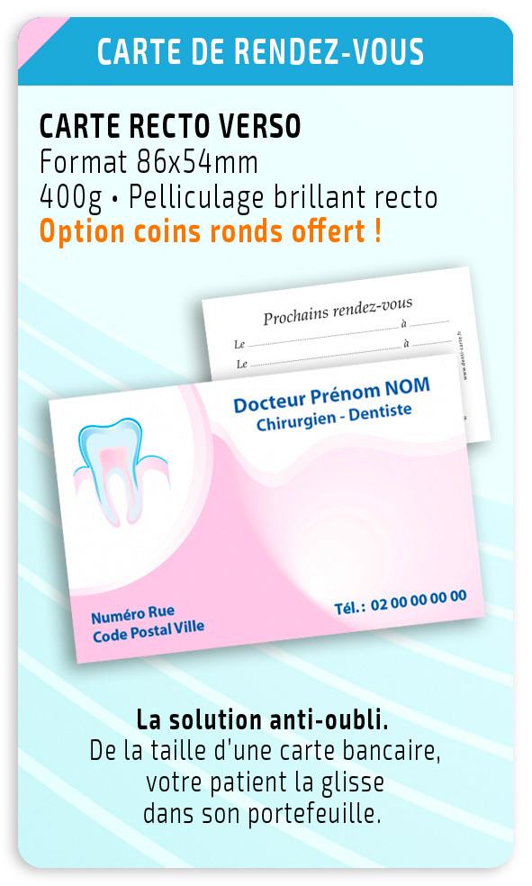 Cartes de rendez-vous dentiste